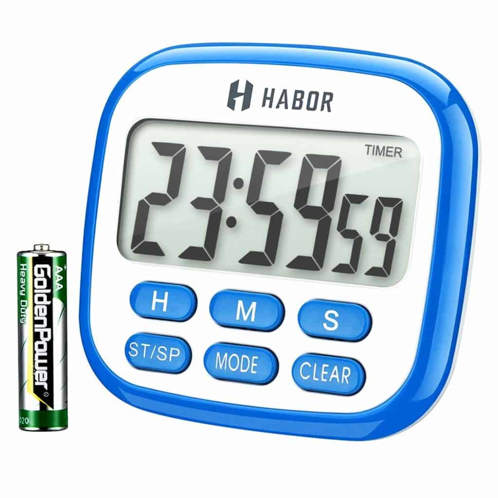 Timer - Habor Digital Kitchen Timer Large, Strong Magnet Back, Loud Alarm, Memory Function 12-Hour Display Clock