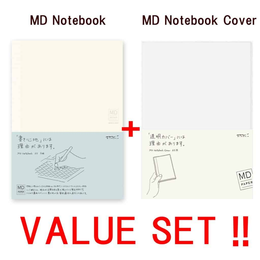 Midori MD Notebook - A5 Grid Paper (15003006 ) + MD notebook cover
